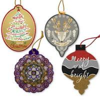 Jillson & Roberts Christmas CardOrnament Greeting Card/Ornament Assortment (4 Cards)