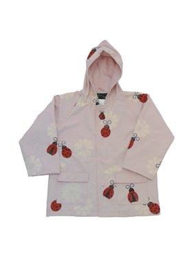 Little Girls Pink Lady Bug Rain Coat 3T