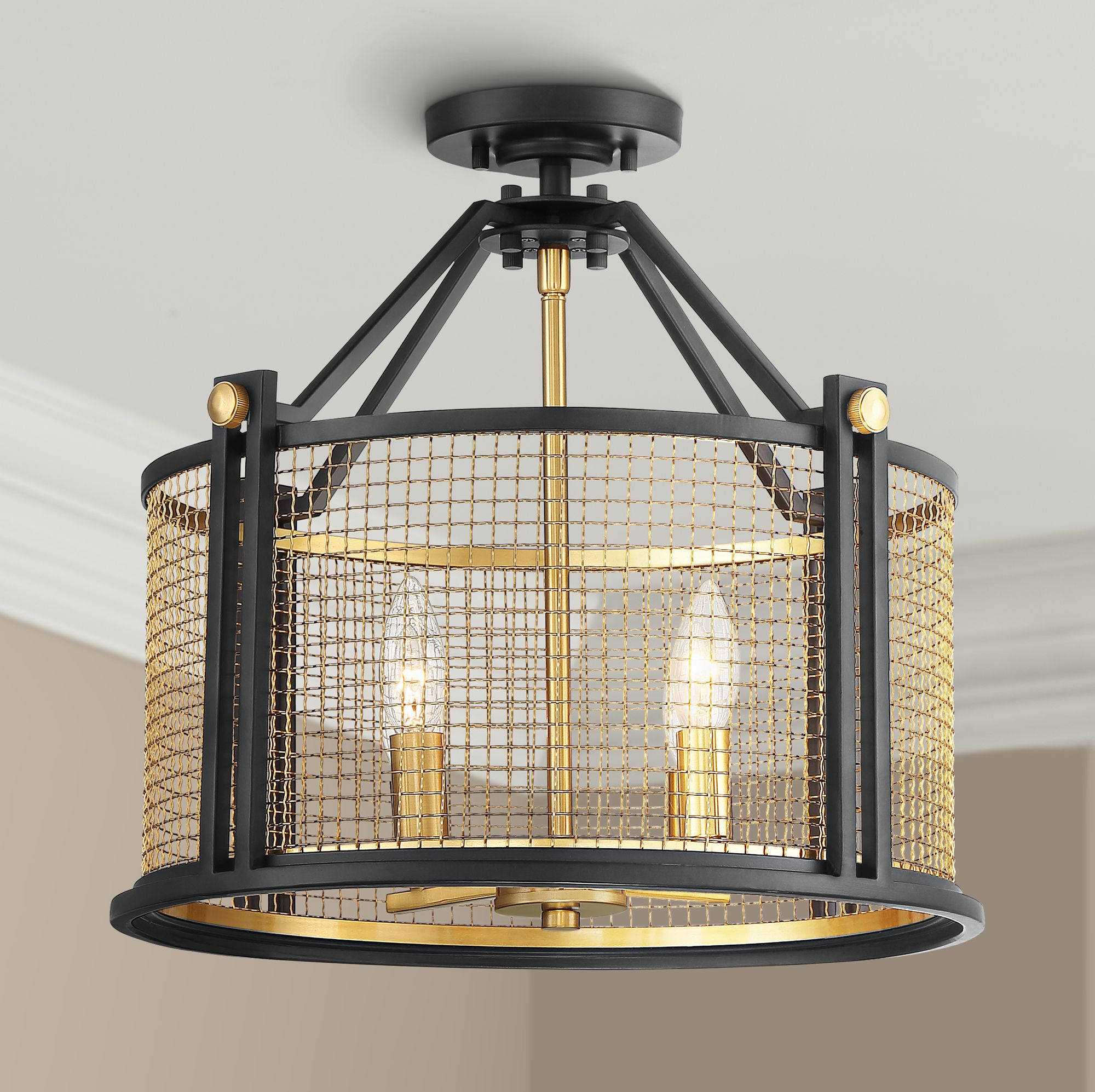 Possini Euro Design Modern Ceiling Light Semi Flush Mount Fixture Black Gold 16 1 2 Wide 4 Light Mesh Drum For Bedroom Kitchen Walmart Com Walmart Com