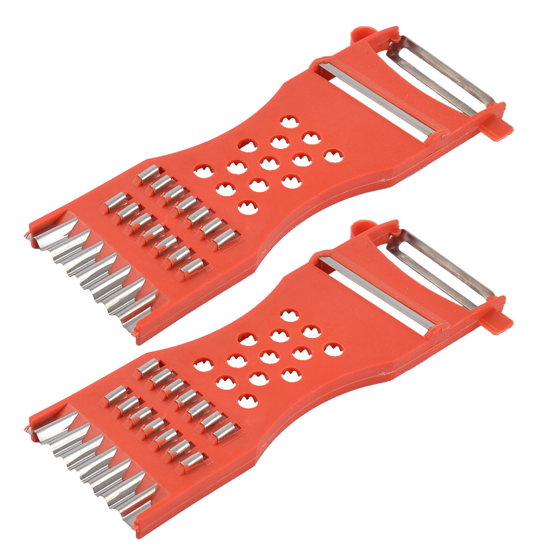 Home Kitchen Plastic Frame Vegetable Slicer Peeler Red Silver Tone 2pcs