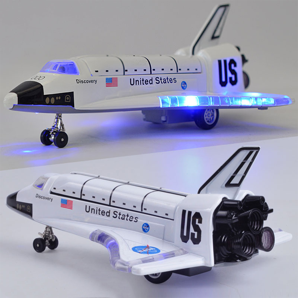 8 Inch Alloy Force Control Space Shuttle Model with Light & Sound Toy Plane Gift for Children Color:Plane