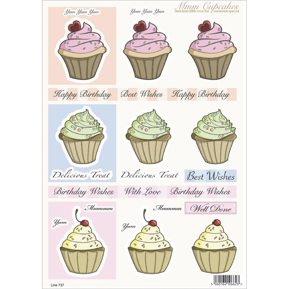 "3D Die-Cut Decoupage Sheet 8.3""X11.69""-Cupcakes: Yum, Yum, Yum & Happy Birthday"