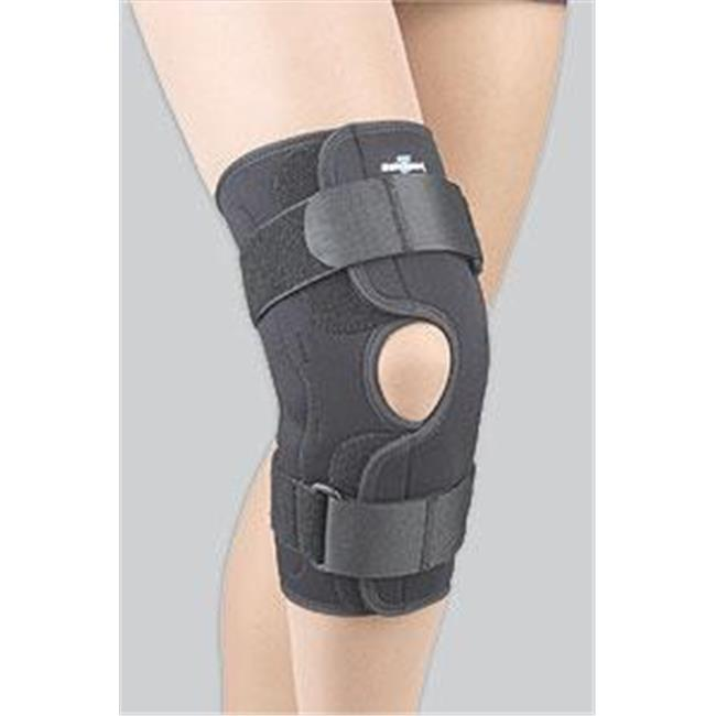 Fla 37-3501LBLK Safe-T-Sport Wrap-Around Hinged Knee Stabilizing Brace, Black, Extra Large