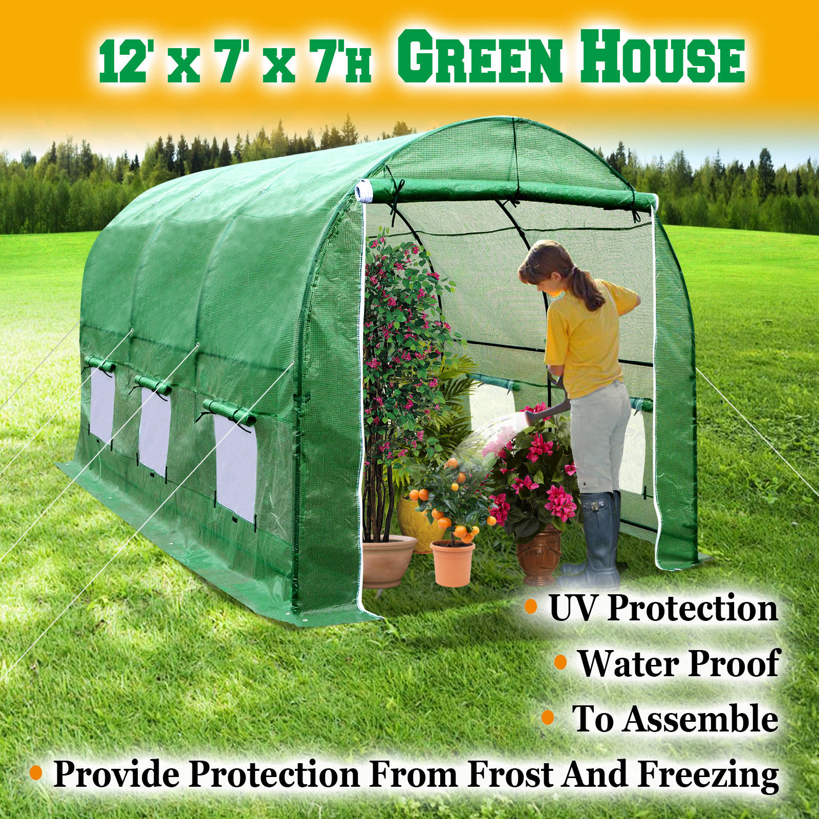 STRONG CAMEL New Hot Green House 12'X7'X7' Larger Walk In Outdoor Plant Gardening... by Sunny Outdoor Inc
