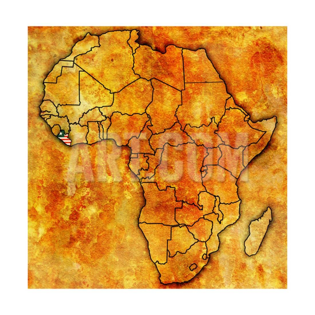 Liberia On Africa Map.Liberia On Actual Map Of Africa Print Wall Art By Michal812