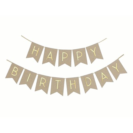 Natural Happy Birthday Banner / garland with gold foiled Letter for birthday party decoration, garland (Natural & Gold)