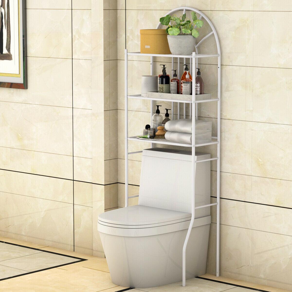 Salle De Bain Et Wc Dans Espace Reduit costway etagère pour toilette etagère wc meuble de rangement dessus wc  salle de bains lave-linge 3 tablettes etagères en métal blanc, 59 x 37 x  173 cm