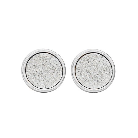 Sterling Silver Glitter Paper Circle Stud Earrings (Glitter Circle Earrings)