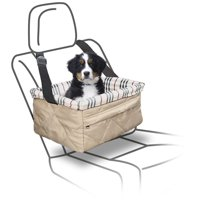 Bundaloo Quilted Pet Booster Seat - Car Accessories for Cat and Dog up to 18 Lbs - Soft White Cushion with Zipper Pocket for Harness, Leash, Toys, Treats - Adjustable Straps and Removable Plaid Cuff