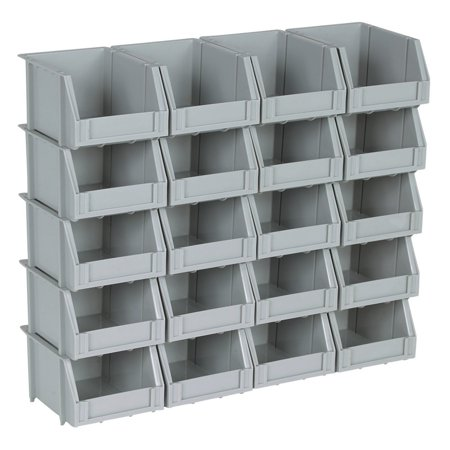 20 Bin Rail Mount Stackable Parts Storage (Plain Box Rail)