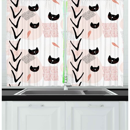 - Modern Curtains 2 Panels Set, Cute Cat Faces with Dotted Whiskers Kittens Animals Kids Nursery Theme, Window Drapes for Living Room Bedroom, 55W X 39L Inches, Dark Coral Black Peach, by Ambesonne