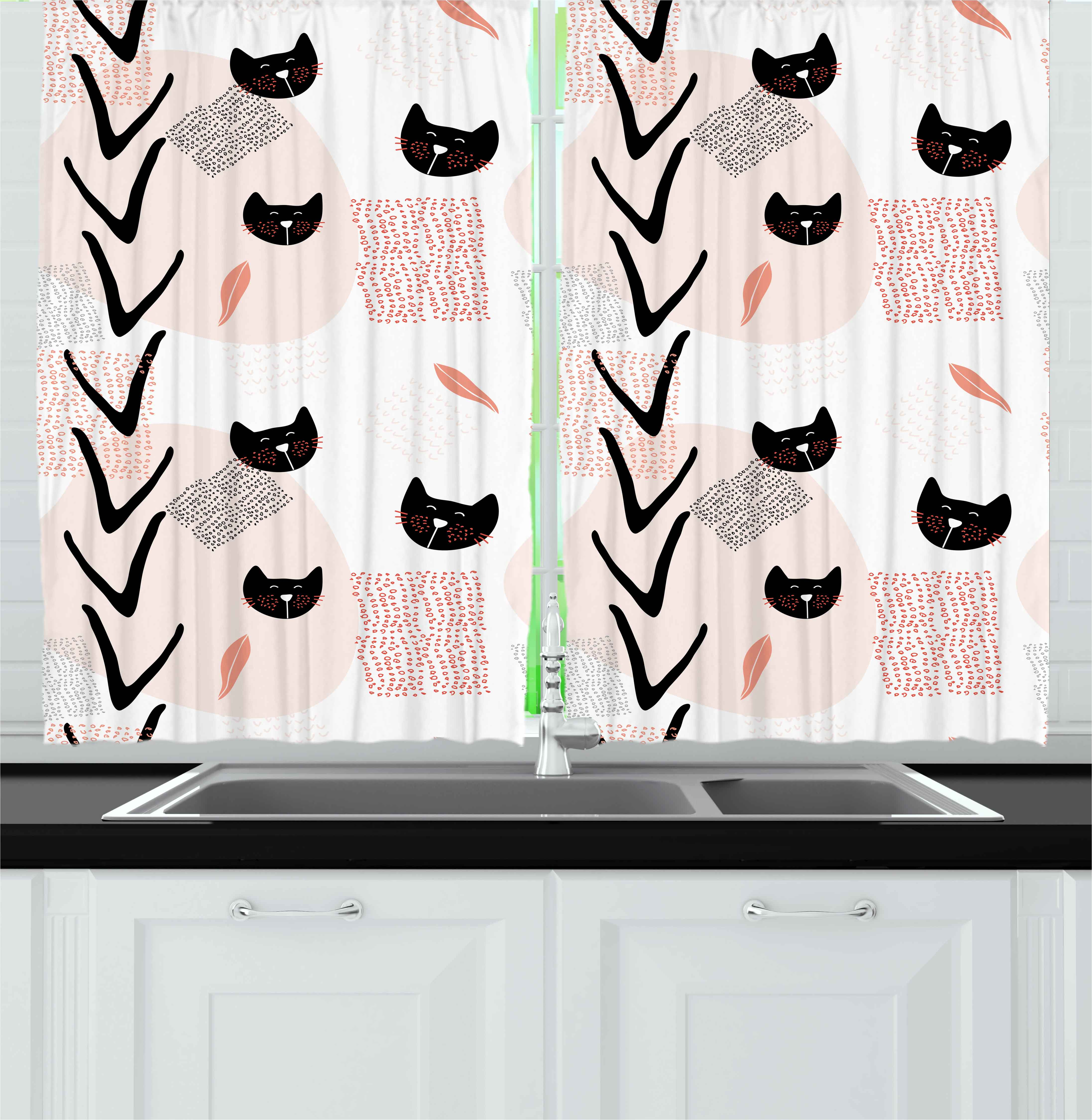 Modern Curtains 2 Panels Set, Cute Cat Faces with Dotted Whiskers Kittens Animals Kids Nursery Theme, Window Drapes for Living Room Bedroom, 55W X 39L Inches, Dark Coral Black Peach, by Ambesonne