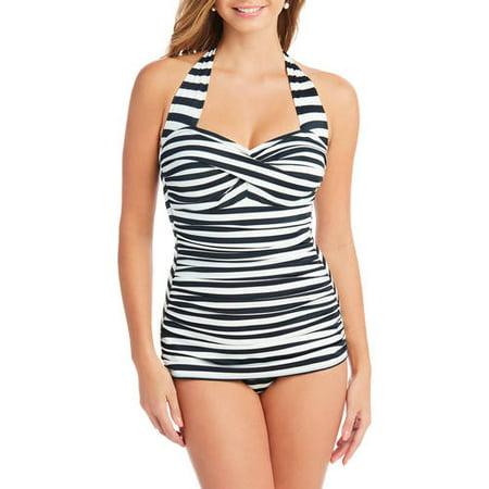 00edd34405df9 Suddenly Slim By Catalina Women''s Slimming Shirred Halter One-Piece  Swimsuit