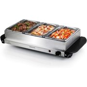 Ovente Electric Food Buffet Server & Warmer 3 Portable Stainless Steel Chafing Dishes Trays with Temperature Control & Easy Countertop Heating for Dinner Indoor Holiday Party & Catering, Silver FW173S