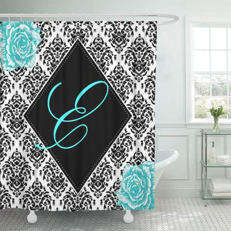 CYNLON Black Personalized Damask Nursery White Little Girls Room Customizable Bathroom Decor Bath Shower Curtain 66x72 inch