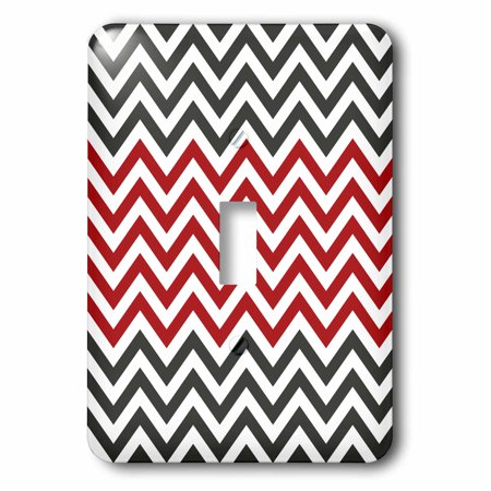 3dRose Red, White, and Charcoal Black Chevron Stripes, 2 Plug Outlet Cover