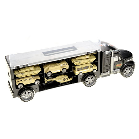 Military Transport Truck - Includes Tanks, Helicopters, Additional Slots For Other Vehicles Great Toy for Kids That Love Trucks - Top Toys For Kids