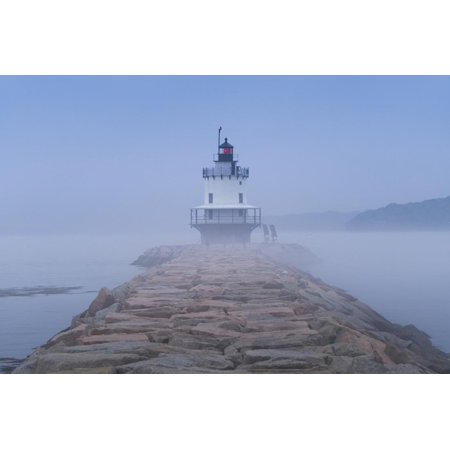 USA, Maine, South Portland, Spring Point Ledge Lighthouse in fog Print Wall Art By Walter