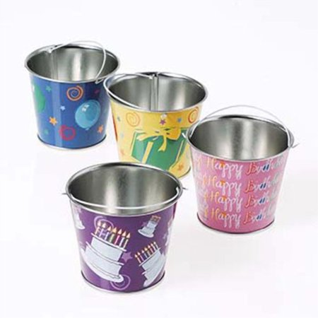lot of 12 assorted happy birthday design metal mini - Mini Metal Buckets