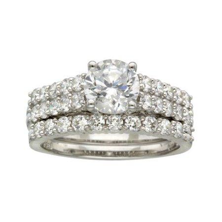 believe by brilliance sterling silver round cz bridal set