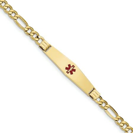 14K Yellow Gold Medical Soft Diamond Shape Enamel Semi-Solid Figaro Link ID Bracelet - image 3 de 3