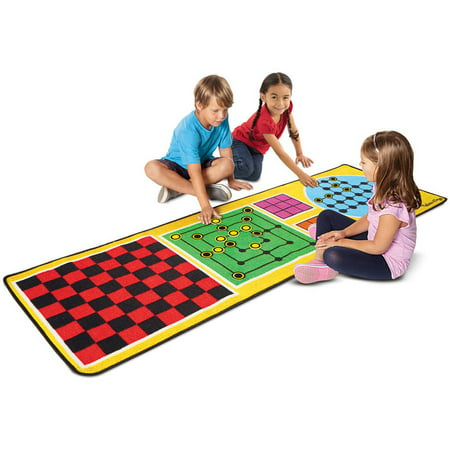 Melissa & Doug 4-in-1 Game Rug (78.5 x 26.5 inches) - 4 Board Games, 36 Game Pieces - Baby Twin Games