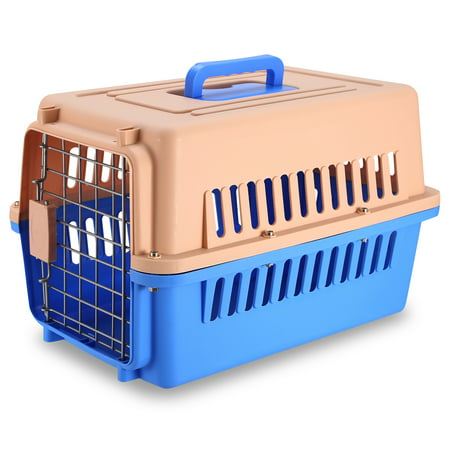 iMountek Travel Dog Kennel Carrier Handheld Pet Crate Cage Cat Rabbit Carrier Box w/ 11lbs Max Load Safety Squeeze Latch Cat Travel Cage