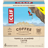 CLIF Bar Coffee Collection Breakfast Bars, Vanilla Almond Latte, 9g Protein Bar, 6 Ct, 2.4 oz
