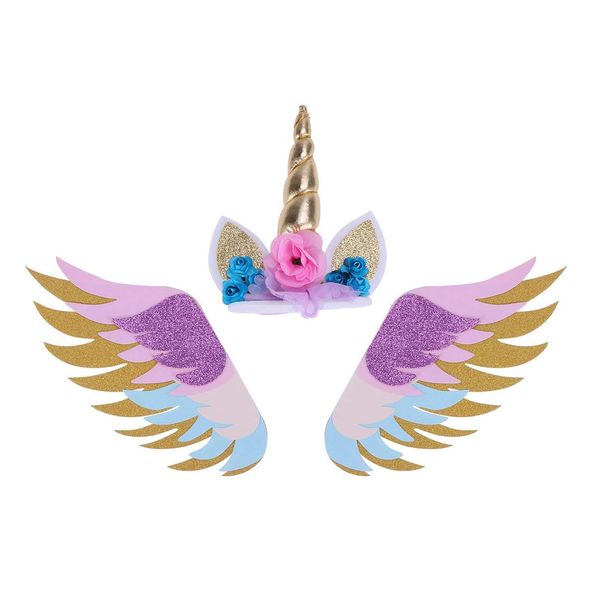 Unicorn Wings Cake Topper Glitter Paper Cake Insertion Card Cake Decoration Cupcake Toppers Birthday Baby Shower Wedding 3PCS