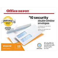 Office Depot Double-Window Envelopes, #10 (4 1/8in. x 9 1/2in.), White, Clean Seal(TM), Box Of 250, 77139