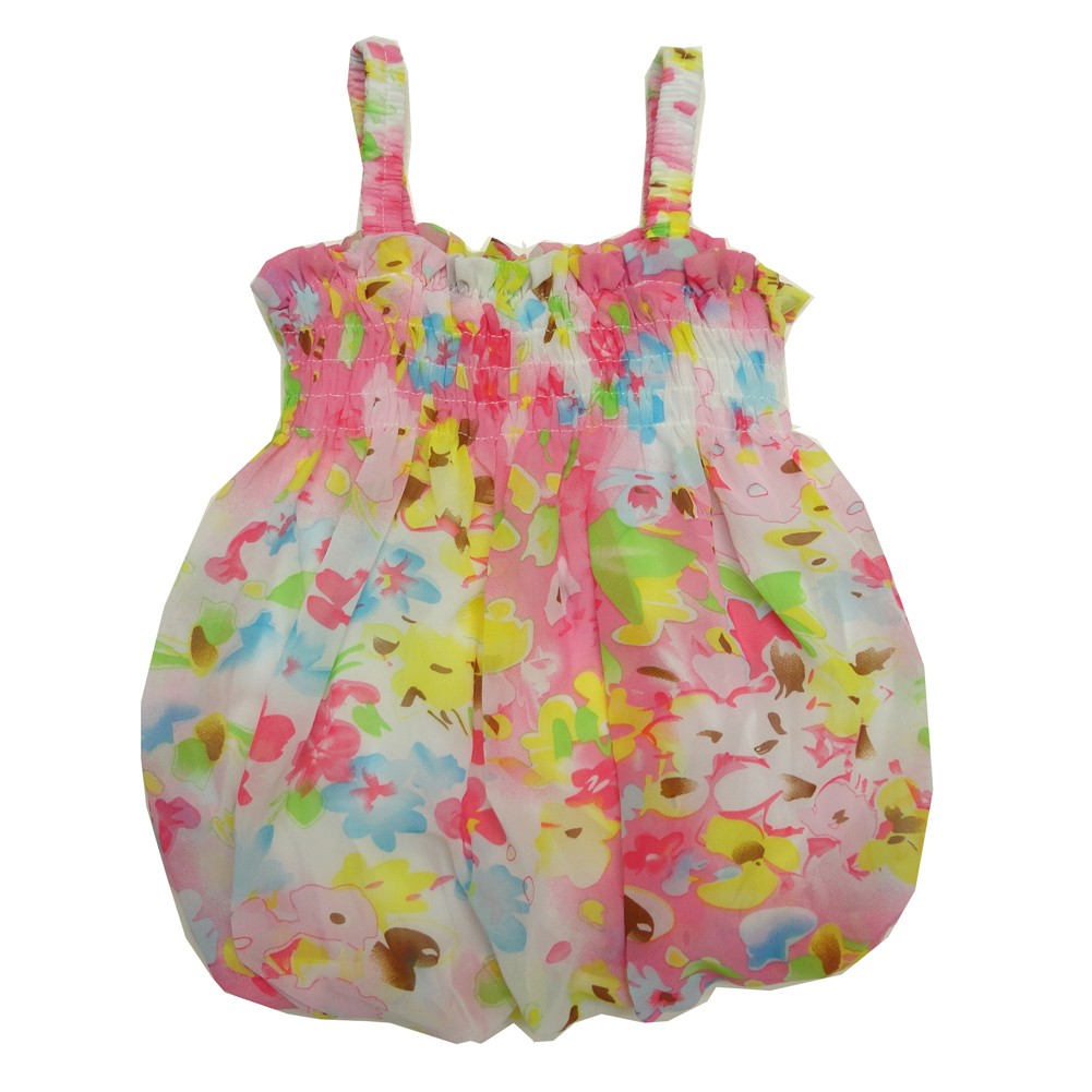 Baby Girls Pink Ivory Floral Print Strap Bubble Chiffon Dress 6-24M