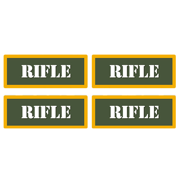 "Rifle Ammo Can 4 Pack 3"" Olive OD Sticker Gun Ammunition Box Case Decal"