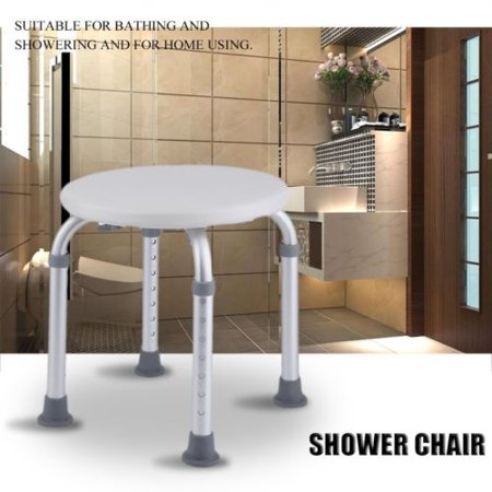 Round Shower Stool Bath Bench 7 Levels Adjustable Shower Chair for Small Spaces, Non-Slip Tub Shower Safety Seat Medical Compact Bathtub Stool for Seniors Elderly Adults Disabled ()