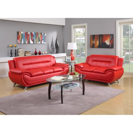 GTU Furniture Contemporary Modern, Sleek Chic and Plush and Faux Leather Rich Red, Over-Stuffed Loveseat Sofa, Sofás de Sala ()