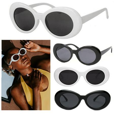 2 Oval Sunglasses White Black Clout Goggles Retro Glasses Vintage Kurt (Kurt Cobain White Sunglasses Brand)