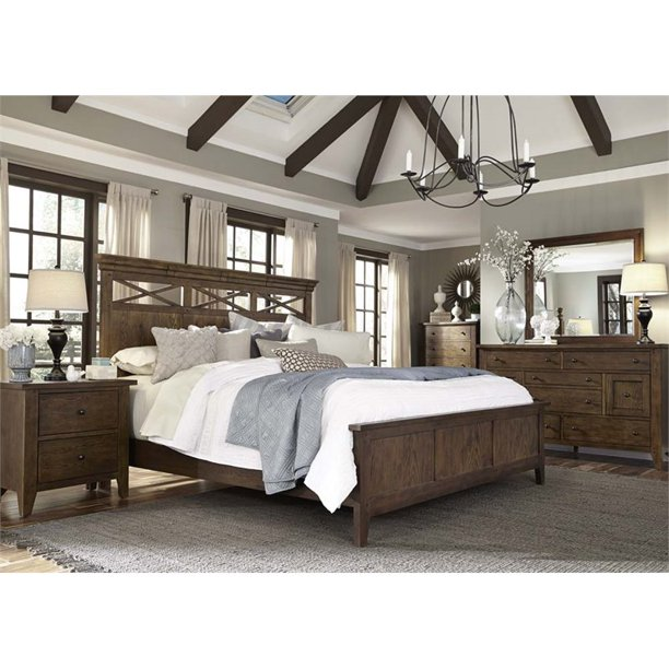 Liberty Furniture Hearthstone 5 Piece Queen Panel Bedroom Set In Oak Walmart Com Walmart Com