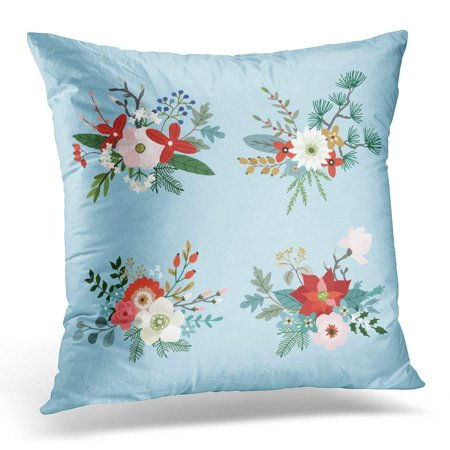 USART Christmas Bouquets Made Fir Pine and Eucalyptus Tree Branches Poinsettia Mums Magnolia Flowers Holly Pillow Case Pillow Cover 20x20 inch