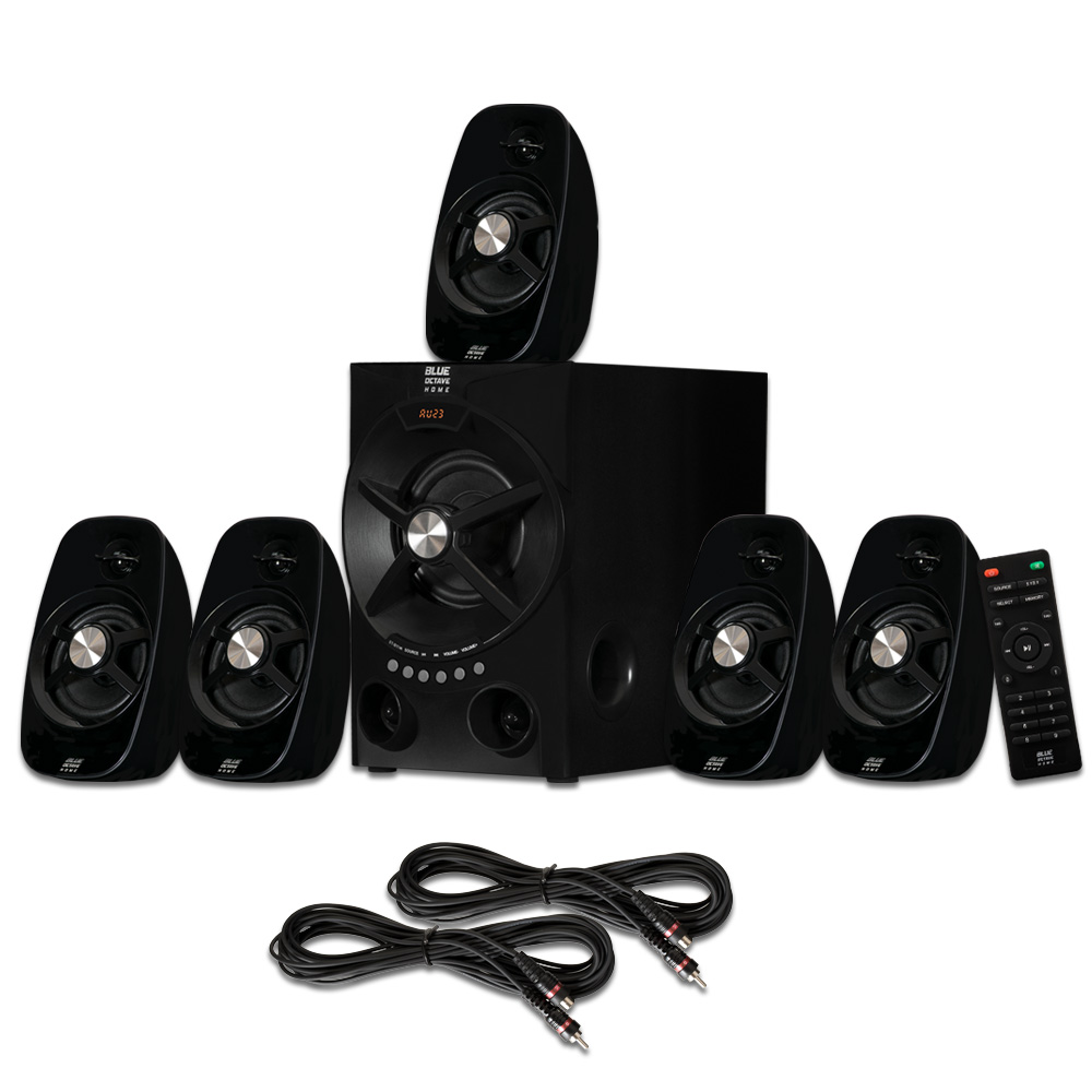 Blue Octave B54 Home Theater 5.1 Bluetooth Speaker System with USB / SD and 2 Extension Cables