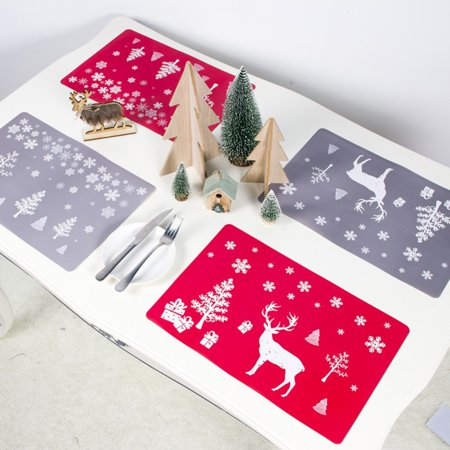 Christmas Placemat Set Winter Dining Room Kitchen Table Mat Holiday Home Decorations 6 Placemats And 6 Coasters ()