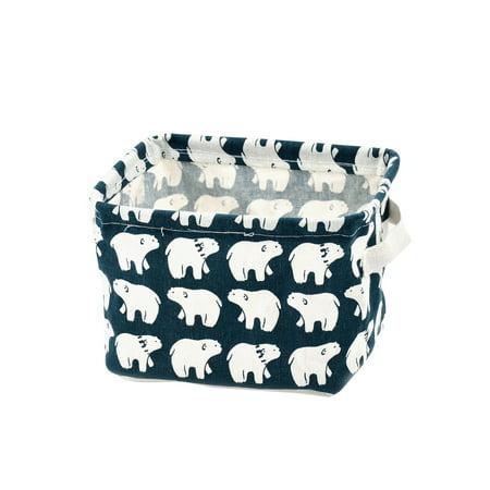 Fabric Polar Bear Pattern Makeup Storage Basket Closet Box Container