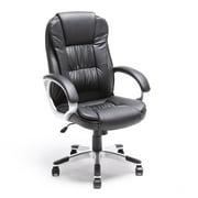 ALEKO ALC2216BL High Back Office Chair, Ergonomic Computer Desk Chair, Black PU Leather