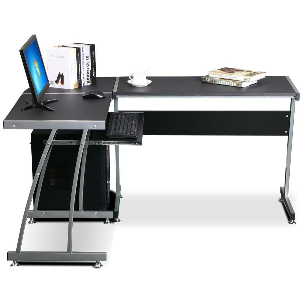 "KORGOL  57"" L-Shaped  Home Office Corner Computer Desk Black"