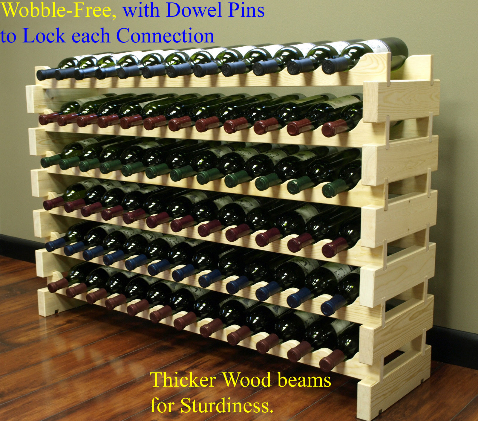 Stackable Modular Wine Rack Stackable Storage Stand Display Shelves, Wobble-Free, Pine... by