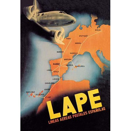 Travel & Leisure during the Heyday of Commercial Air Travel when Flying was exciting and foreign locations exotic  LAPE Spanish Postal Airlines was the Spanish national airline during the Second Spani