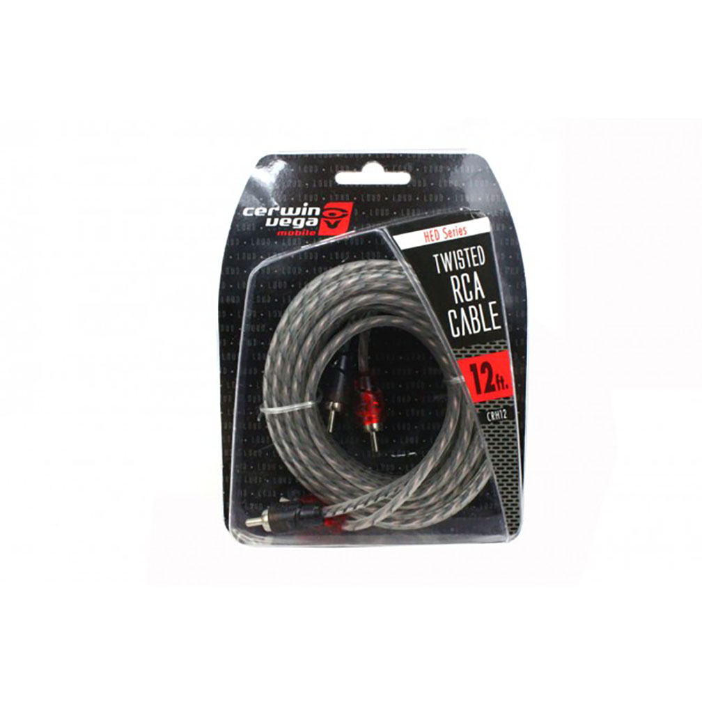 Cerwin Vega HED Series 2-channel RCA cable 12ft. Twisted pair single molded ends