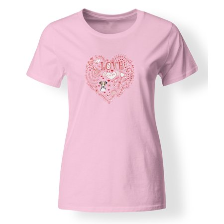 Jack Russell Tie - Love Hearts and  Jack Russell Terrier T-shirt Ladies Cut Short Sleeve Double ExtraLarge BB4520-978-2XL