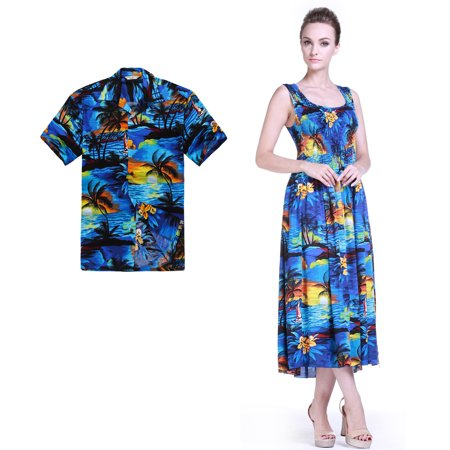 Couple Matching Hawaiian Luau Aloha Shirt Maxi Tank Dress in SunBlue S