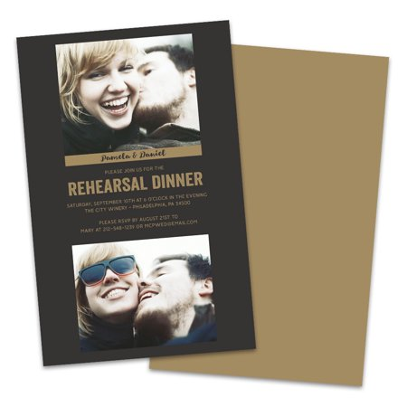 Black and Gold Photo Personalized Rehearsal Dinner Invitations](Black And Gold Invitations)