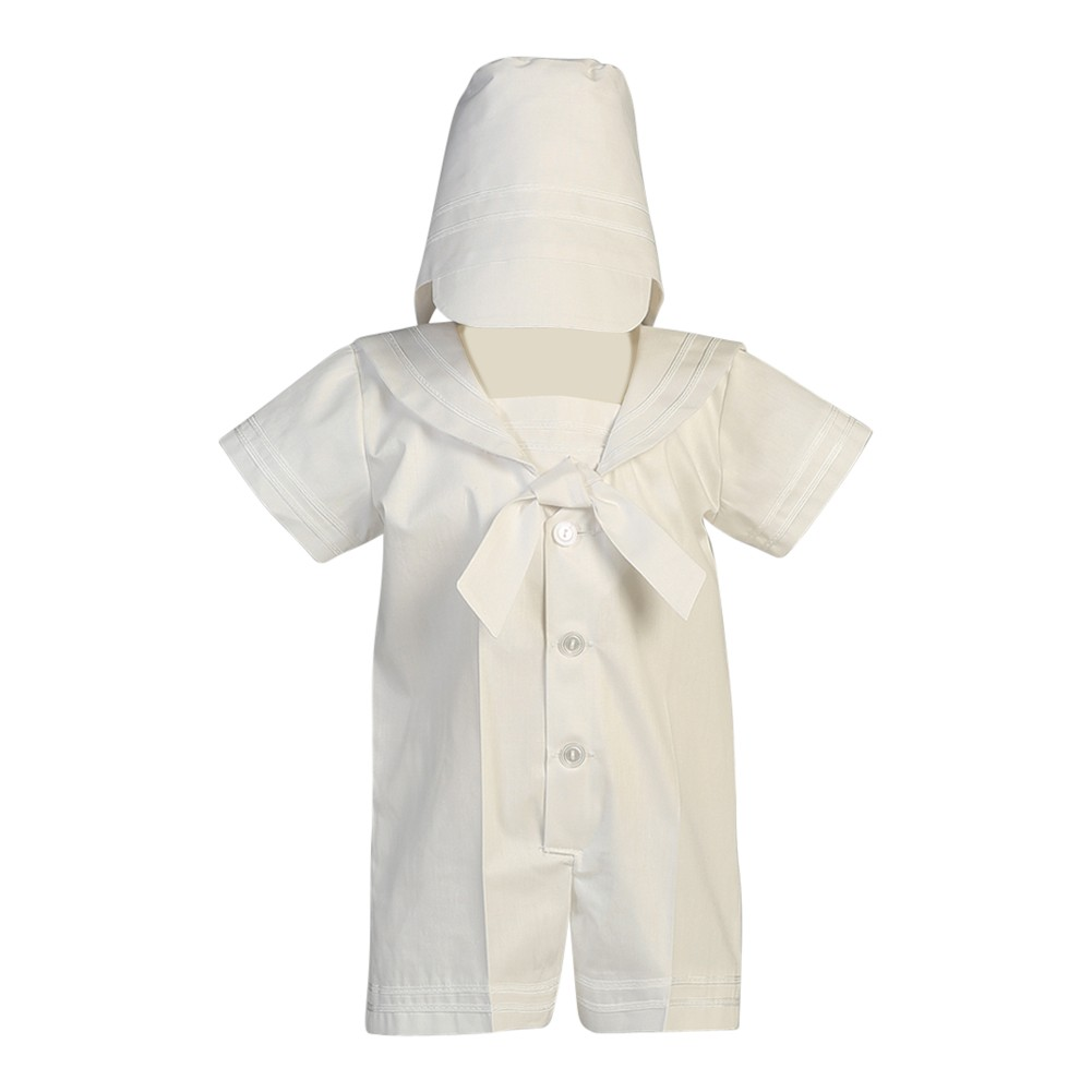 LITO Baby Boys White Poly Cotton Sailor Outfit Baptism Ea...