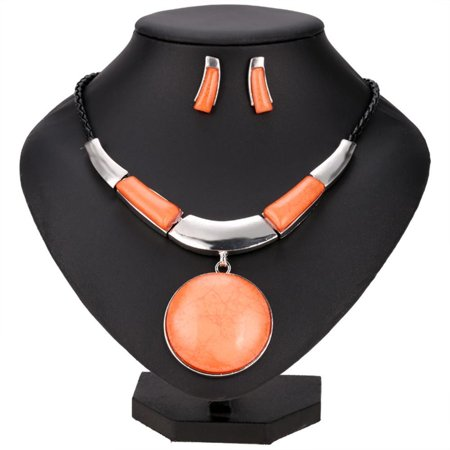 - Fashion Women Round Silver Plated Pendant Faux Leather Rope Necklace Earrings Jewelry Sets HFON